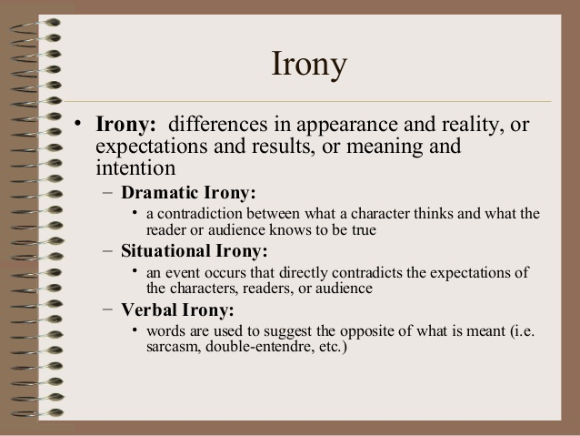 verbal irony in a poem example