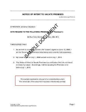 example of notice to vacate from landlord