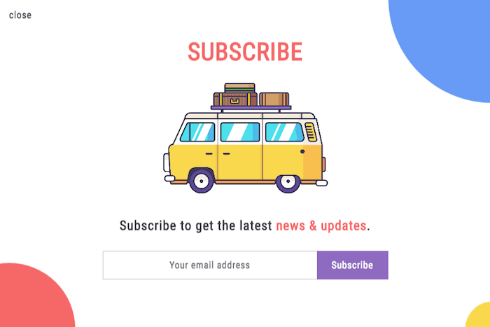 subscriber form pop up example