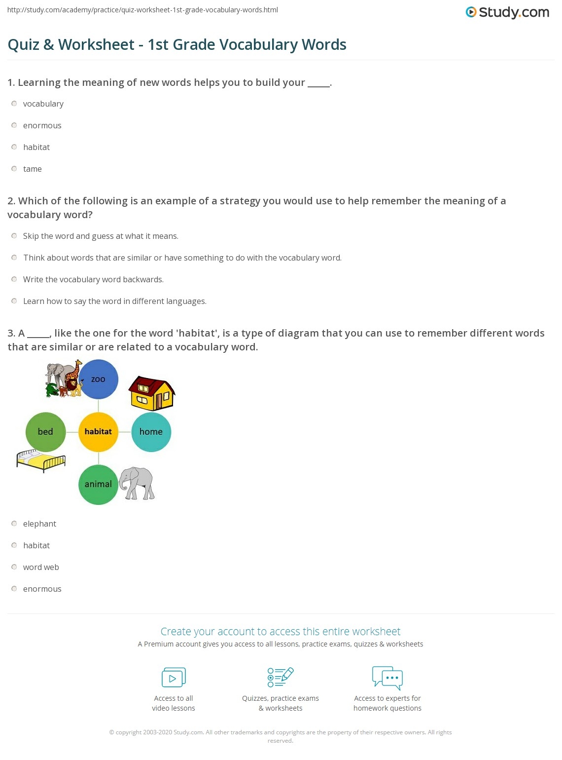 vocabulary words with meaning and example