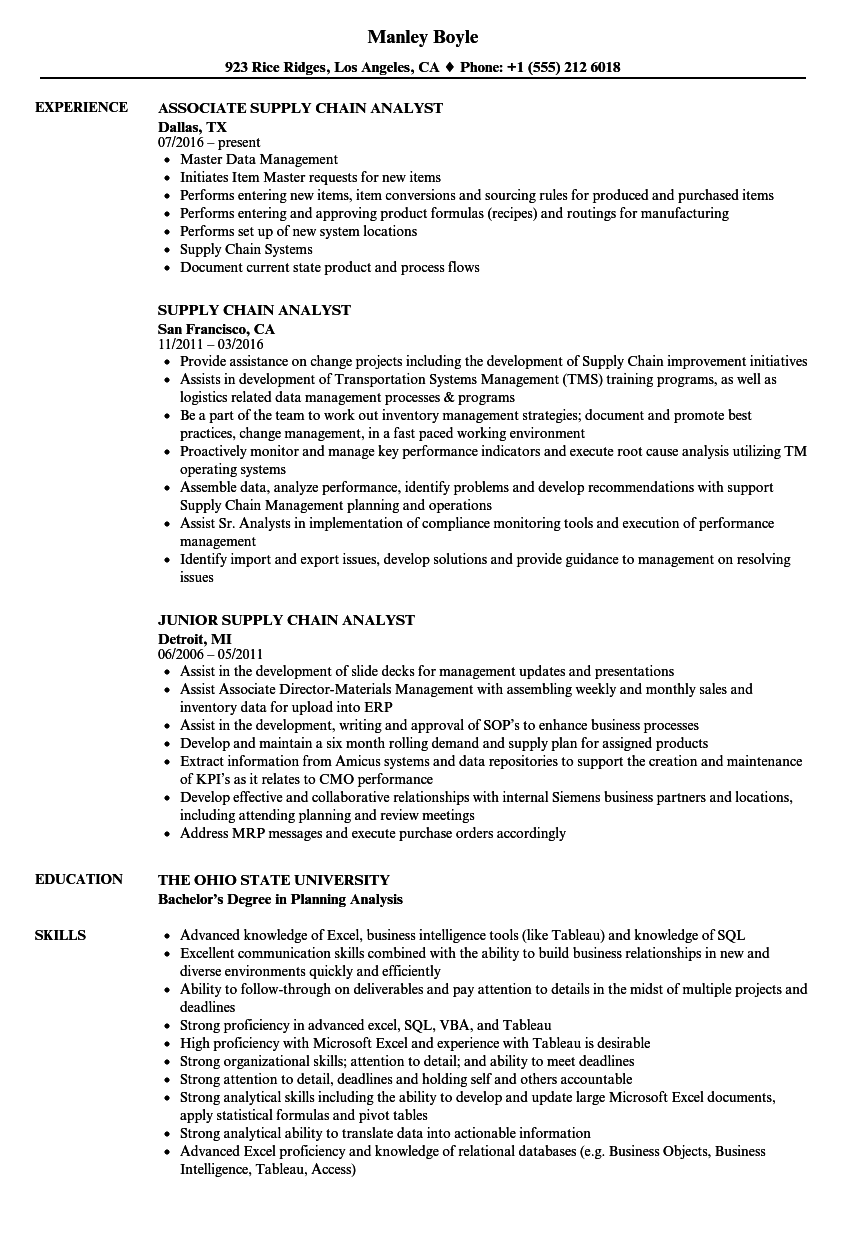 supply chain analyst job description example
