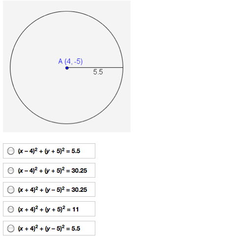 standard equation of a circle example