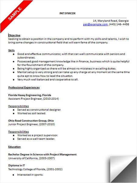 resume for geotechnical engineer example