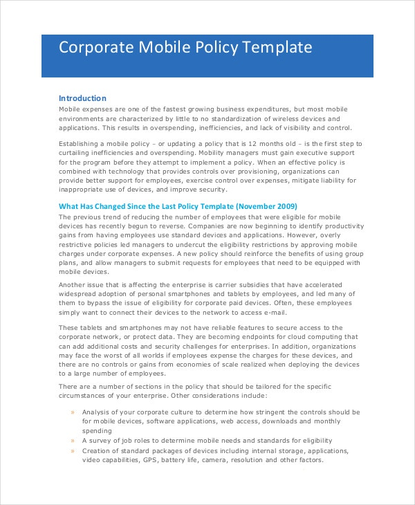 office cell phone policy example