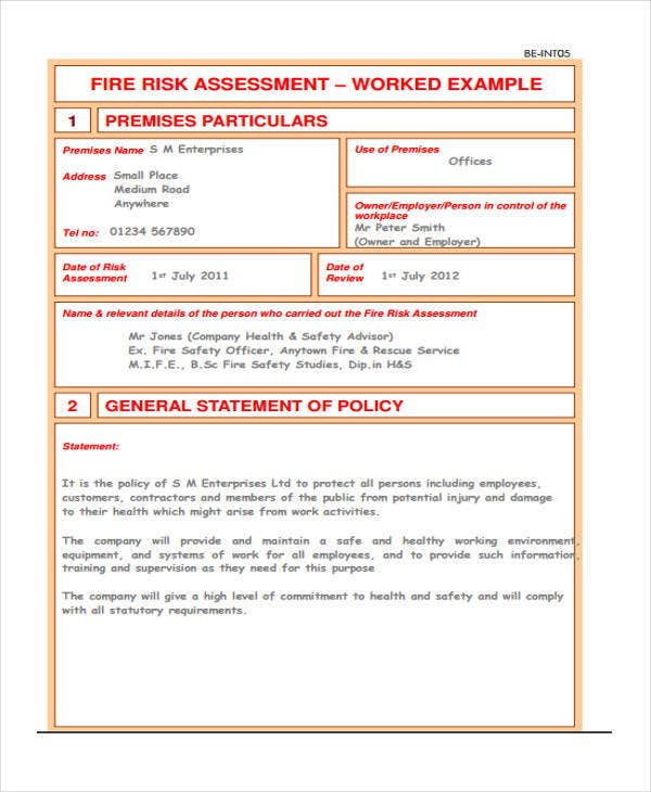 example of fire risk assessment template