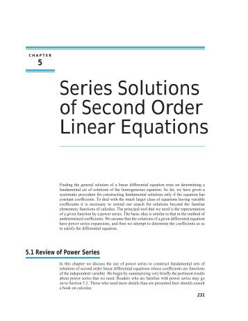 differential equations power series example