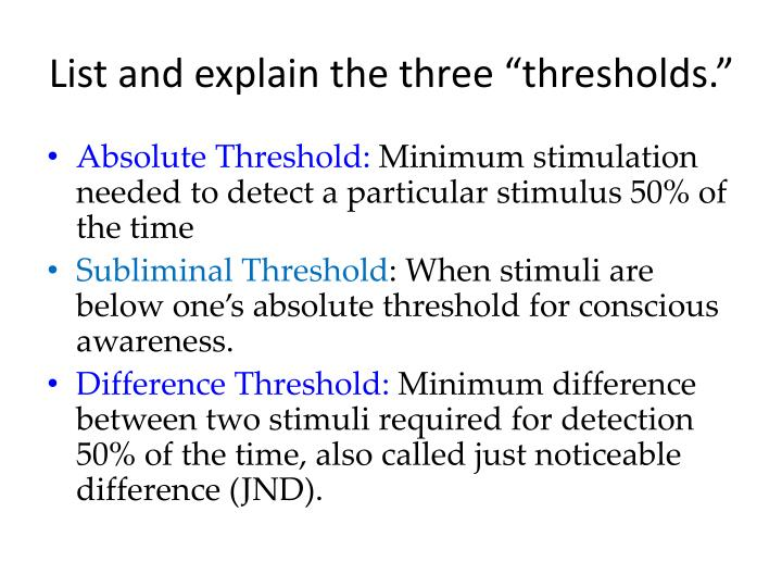 example of difference threshold in psychology