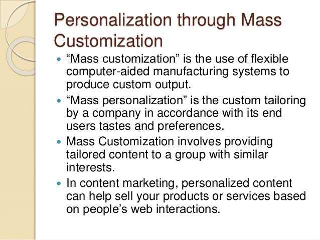 example of mass customization products