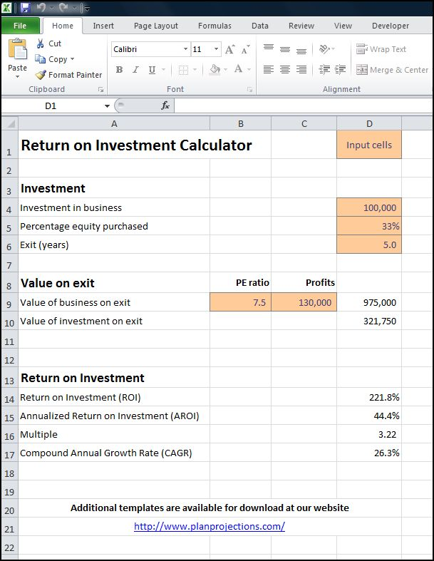 return on investment example calculation excel