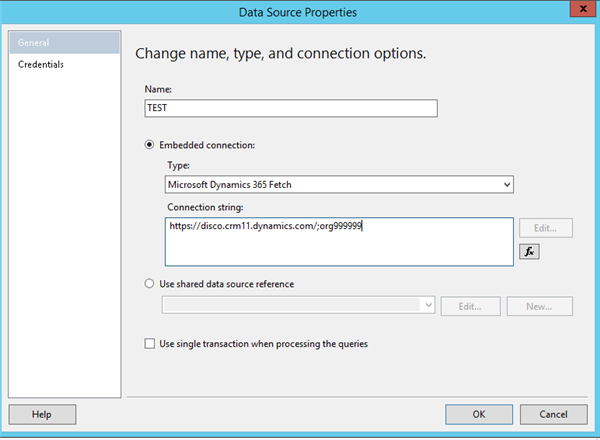 ssrs oracle connection string example