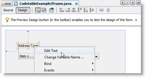 system interface example java code