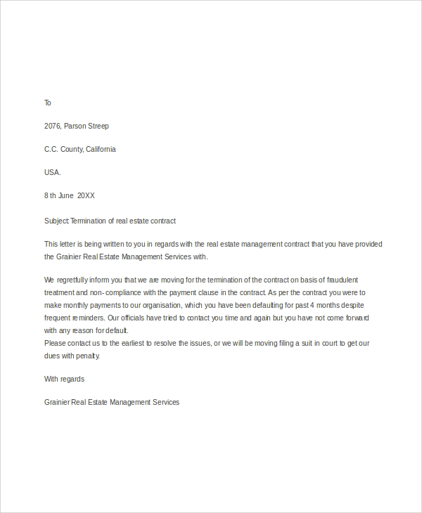 termination of contract letter example