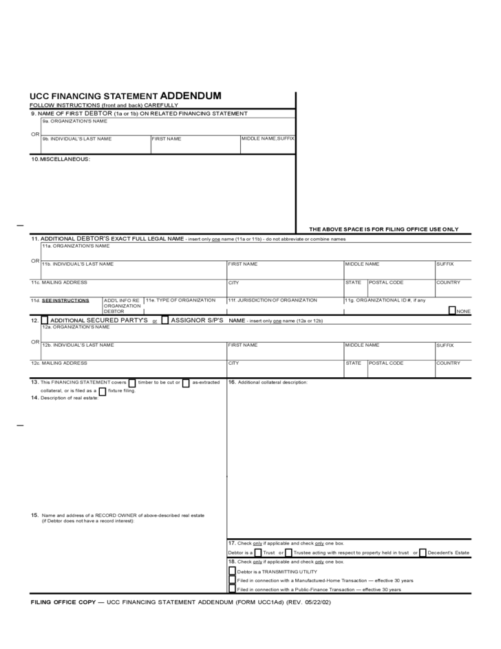ucc 1 financing statement example