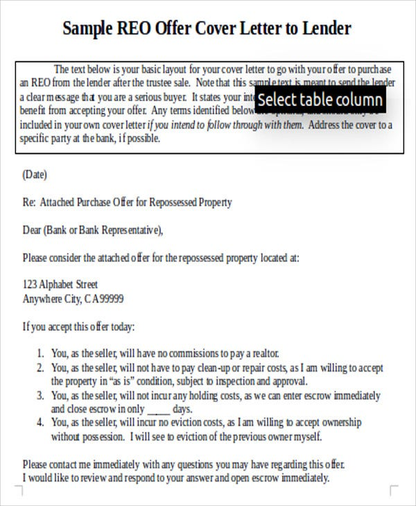 writing a letter to seller with offer example
